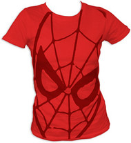 Marvel Comics Spider Man Face Juniors Tunic Tee Shirt