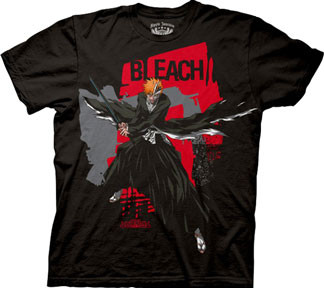 BLEACH ICHIGO HOLLOW WITH WHITE & RED BLOCKS MENS TEE SHIRT