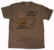 Mens Charlie Brown I Need a Drink Tee Shirt by Junk Food Clothing in Putty Gray