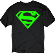 Superman Neon Green Logo Mens Tee Shirt