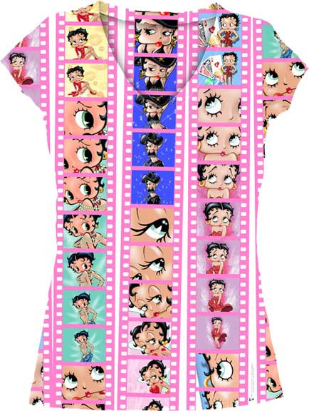 Betty Boop on Film Sublimation Womens V Neck Tee Shirt