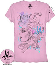 LA Ink Amore Vintage Style Womens T Shirt