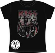 Kiss Vintage Style Shield Womens Tee Shirt