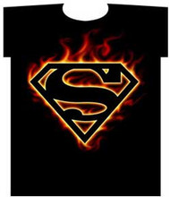 Superman Flame Logo Mens T Shirt