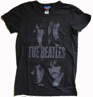 The Beatles 4 Faces Womens T Shirt by Junk Food Clothing