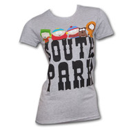 South Park Characters Logo Heather Gray Juniors Graphic Tee Shirt