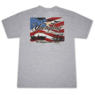 Yuengling American Flag Support Our Troops Military Gray Graphic Tee Shirt