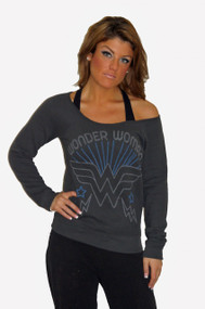 Wonder Woman Off The Shoulder Ladies Fleece Pull Over By Junk Food Clothing