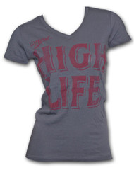 Miller High Life Red Logo Charcoal V-Neck Womens Graphic TShirt