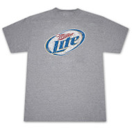 Miller Lite Faded Logo Heather Grey Graphic T Shirt
