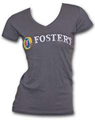 Foster's Faded Logo V-Neck Charcoal Gray Womens Graphic TShirt