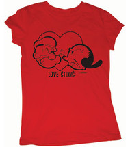 Popeye and Olive Oyl Love Stinks Ladies Tee Shirt