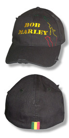 Bob Marley Yellow Logo Distressed Edge Cap