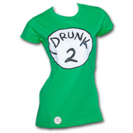 Dr. Seuss Inspired Drunk 2 Bottle Opener Womens Green Tee Shirt