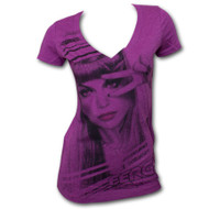 Fergie Finally V-Neck Heather Purple Juniors Graphic T-Shirt