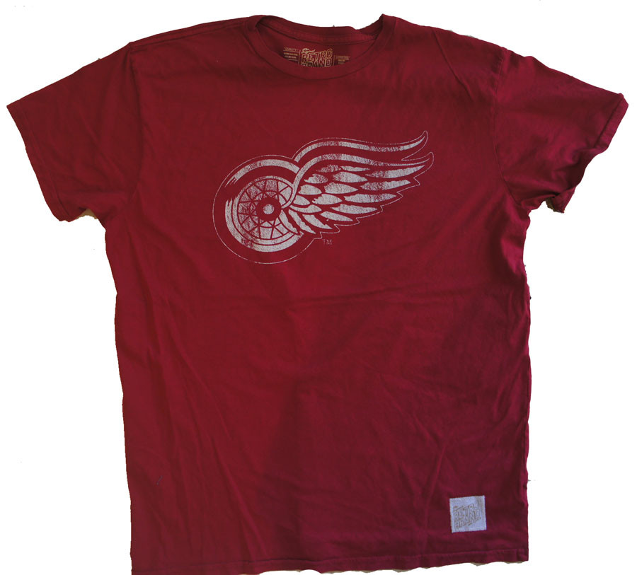 Vintage nhl detroit red wings crew mens crew t shirt for Retro nhl t shirts