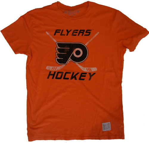 Vintage nhl philadelphia flyers hockey mens orange crew shirt for Retro nhl t shirts