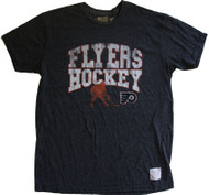 Vintage NHL Philadelphia Flyers Hockey Mens Tri Blend Shirt in Streaky Black