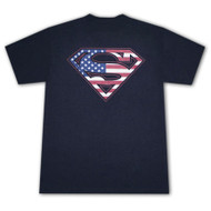 Superman American Flag USA Logo Navy Blue Graphic Tee Shirt