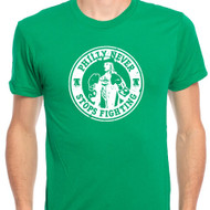 PHILLY NEVER STOPS FIGHTING GREEN T-SHIRT
