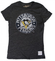 Vintage NHL Pittsburgh Penguins Ladies T-Shirt in Streaky Black