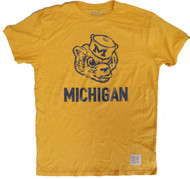 Vintage Michigan Wolverines Mens T-Shirt in Gold