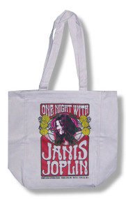 Janis Joplin One Night Cream Tote Bag