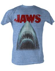 Jaws Stressed Out Tee Shirt in Light Blue Heather