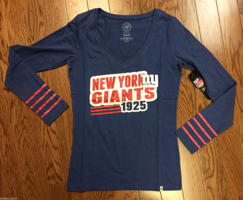 47 Brand NFL New York Giants Blue Rivalry Long Sleeve Womens Shirt