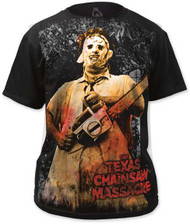 TEXAS CHAINSAW MASSACRE FULL-COLOR CHAINSAW BIG PRINT MENS SUBWAY TEE