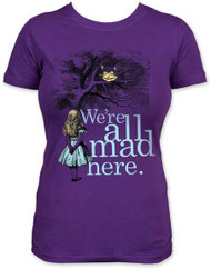 ALICE IN WONDERLAND ALL MAD HERE JUNIORS LIGHTWEIGHT TEE