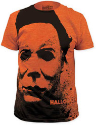 HALLOWEEN SPLATTER MASK BIG PRINT MENS SUBWAY TEE