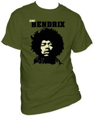 JIMI HENDRIX CLOSE-UP GREEN MENS TEE