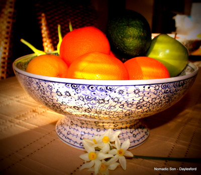 20cm Footed Samur classic ceramic bowls - handmade and hand painted in Turkey