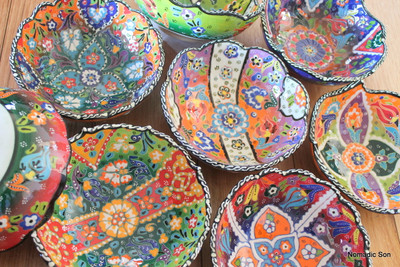 16cm Wavy Kabartma Bowls -hand painted in Turkey