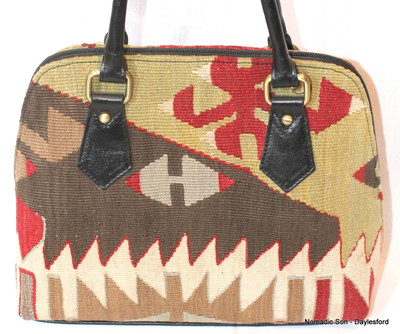 Kas kilim and leather handbag