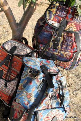Woven Textile backpacks, lined, made in Turkey.