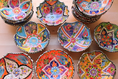 Collection of wavy 12cm handmade and hand painted ceramic bowls.  ALL stunningly unique, made in Turkey