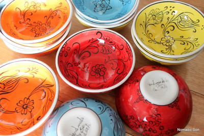 12cm colourful 'Mediterranean' bowls. Food safe, hand wash.
