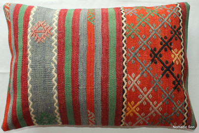 Vintage kilim cover rectangle (40*60cm) #KR81