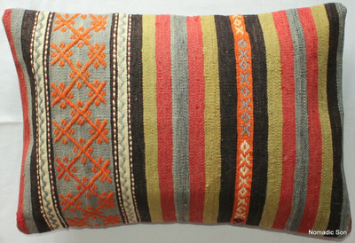 Vintage kilim cover rectangle (40*60cm) #KR82