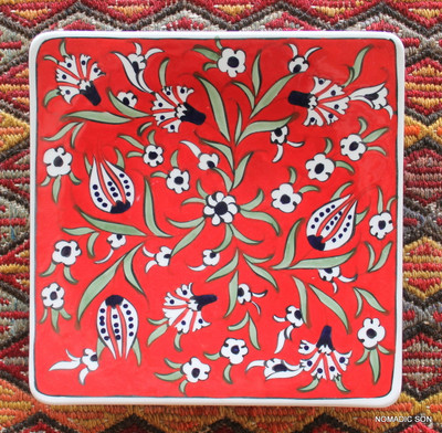 Soloman's Square Platter (Medium, 20cm) - Hand painted - Food safe