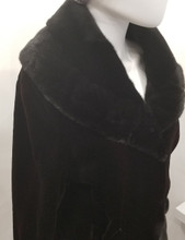 Black with Burgundy Dyed Mink Jacket