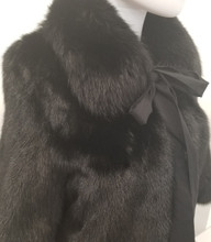 Black Mink balero with fox trim