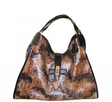 Colette - Genuine Python Hobo Handbag in Python with Brown Alligator Belly Handles and Strap