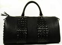 Aino - Duffel Bag in American Bison & Crocodile Backstraps - Black