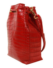 Bucket/Drawstring - Nile Crocodile Handbag -  Red Matte Finish