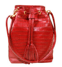 Bucket/Drawstring - Nile Crocodile Handbag -  Red Matte Finish