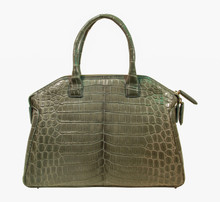Italo - Nile Crocodile Bowling Bag - Gray