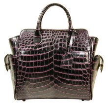 Trapeze Leveler - Nile Crocodile Satchel Bag - Two Tone Purple